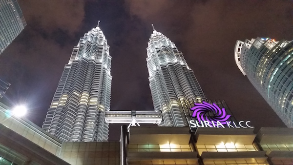 View of the Petronas Towers near the Petronas tentage where the installation is
