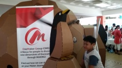 cardboard penguin flapping wings
